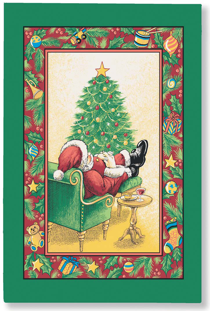 Sleeping Santa Linen Tea Towel