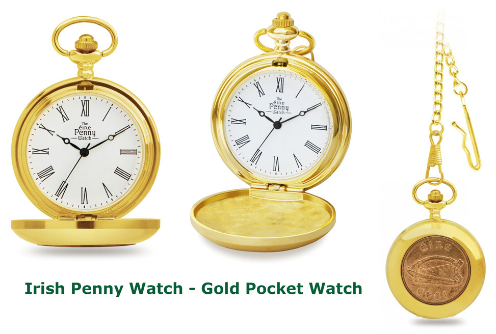 Gold Colored Old Irish Penny Pocket Watch