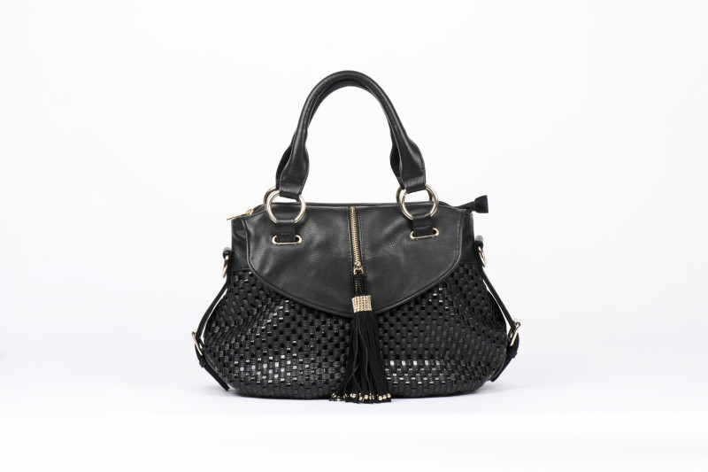 Twin Strap Woven Bodied Flap Detail Purse - Black