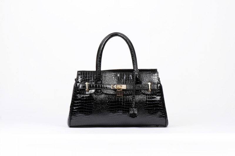 E/W Twin Strap Kelly Style Purse - Black