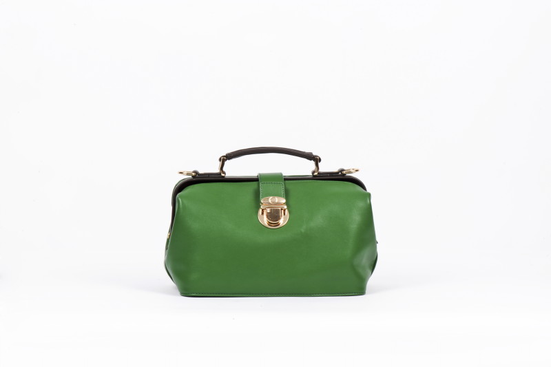 Twin Strap Doctor's Style Retro Purse - Green