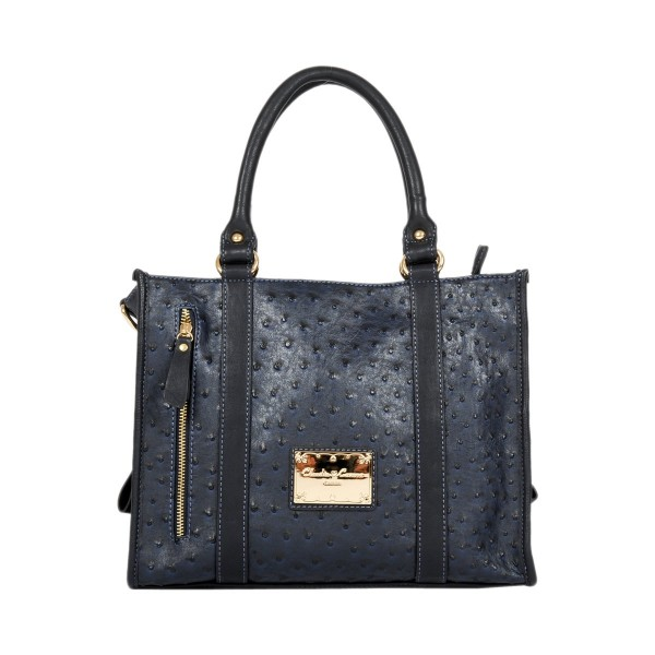 Twin Strap Sectioned Grab Ostrich Print Purse - Navy