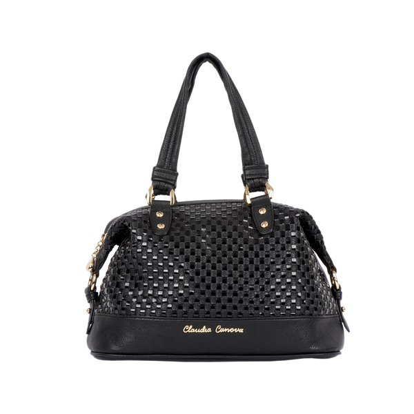 Small Twin Strap Woven Zip Purse - Black