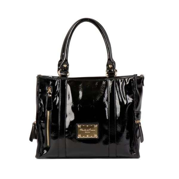 Twin Strap Sectioned Grab Patent Effect Purse - Black