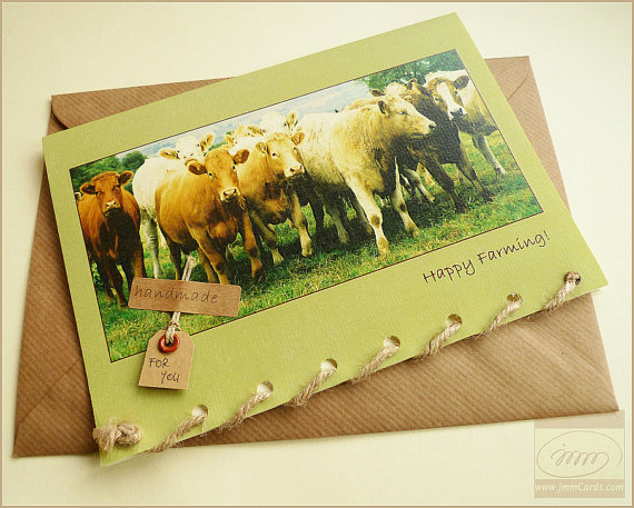 Happy Farming Cows Greeting Card