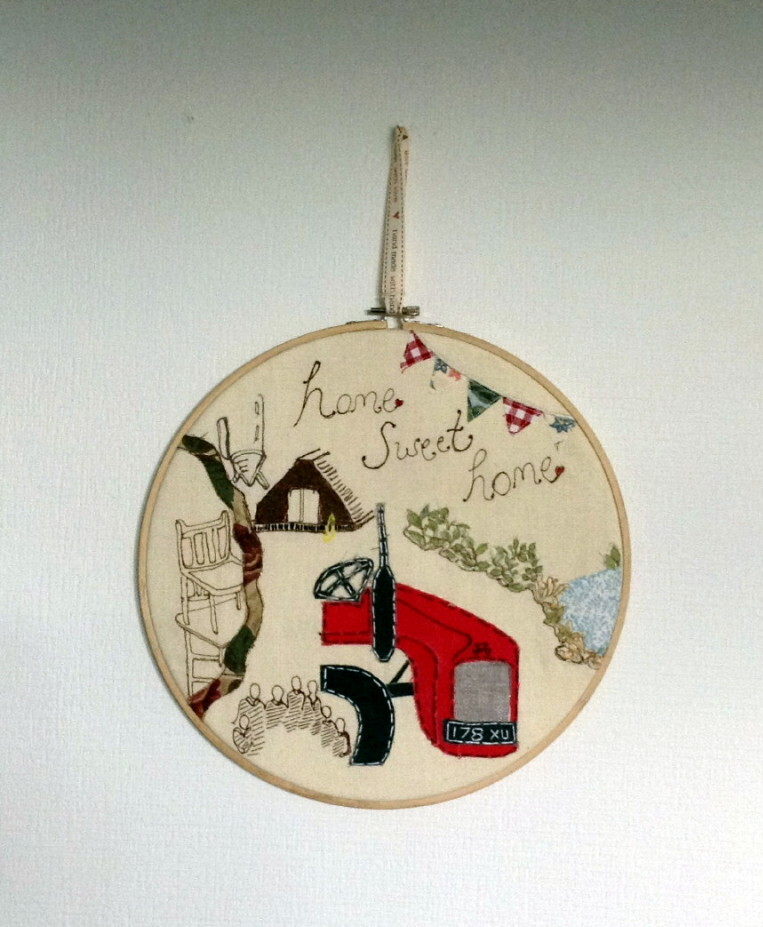 Home Sweet Home Embroidered Wall Hanging - 10""
