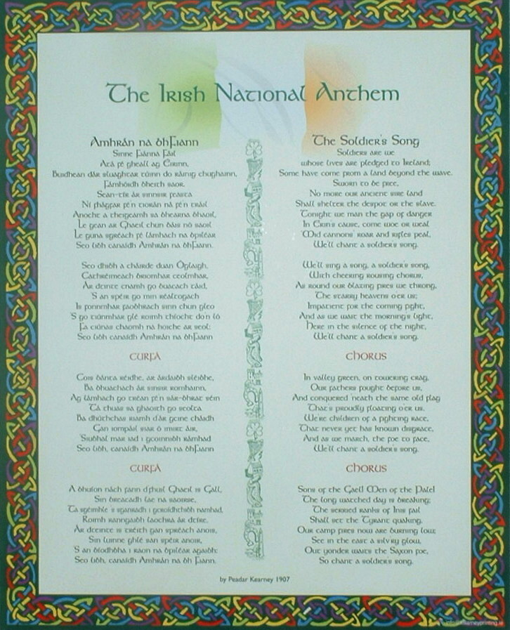 The Irish National Anthem A4 Wall Plaque