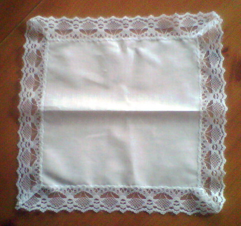Ladies Cotton Hanky With Lace Edge