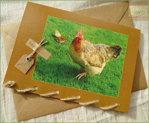 Mother Hen With Baby Chickens - Greeting Card