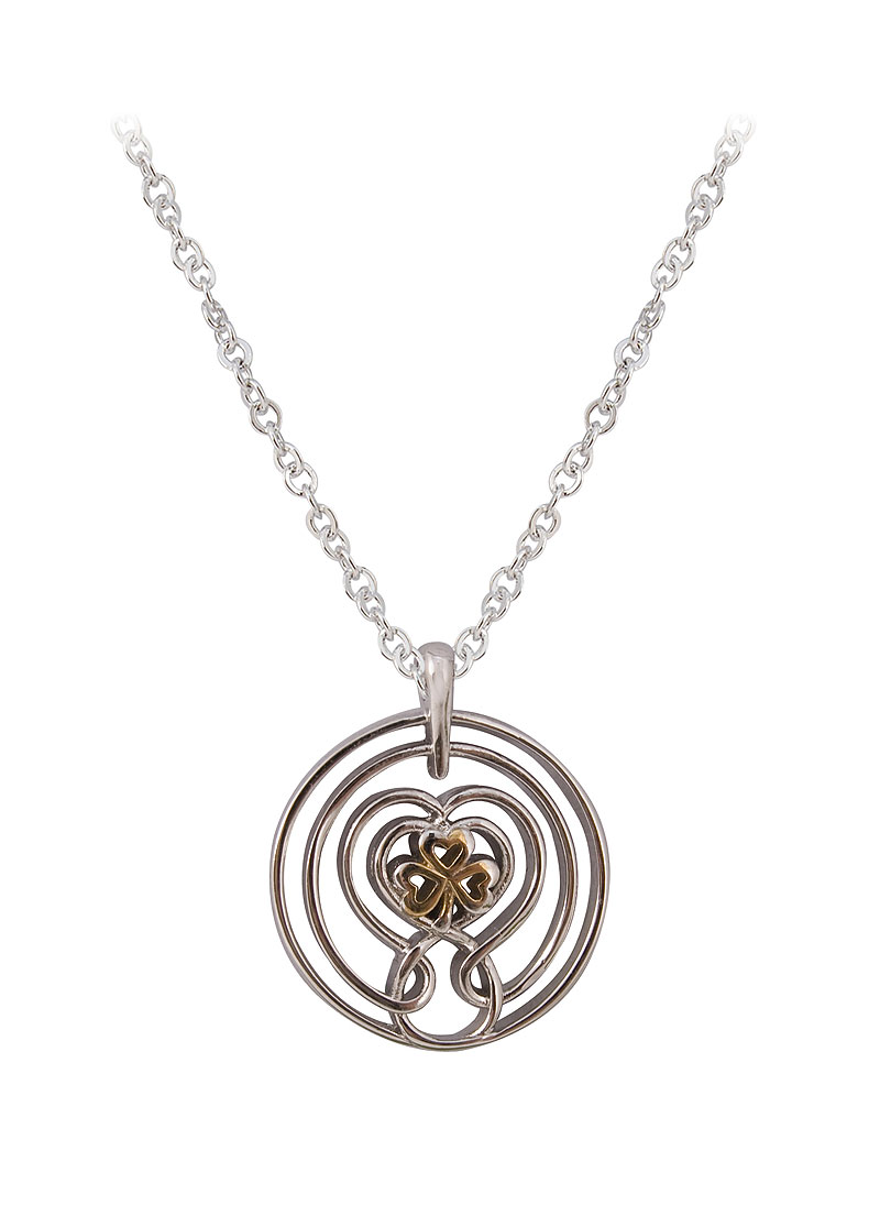 Fine Chain Necklace 17inch with Celtic Spiral Shamrock Pendant