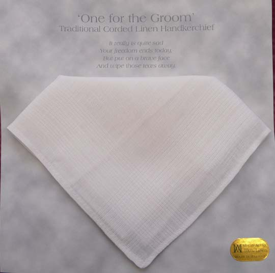 One For The Groom Linen Handkerchief