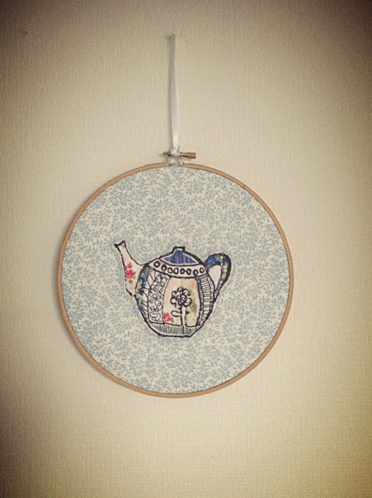Teapot Handmade on Pattern Cotton Embroidery Hoop - 8""