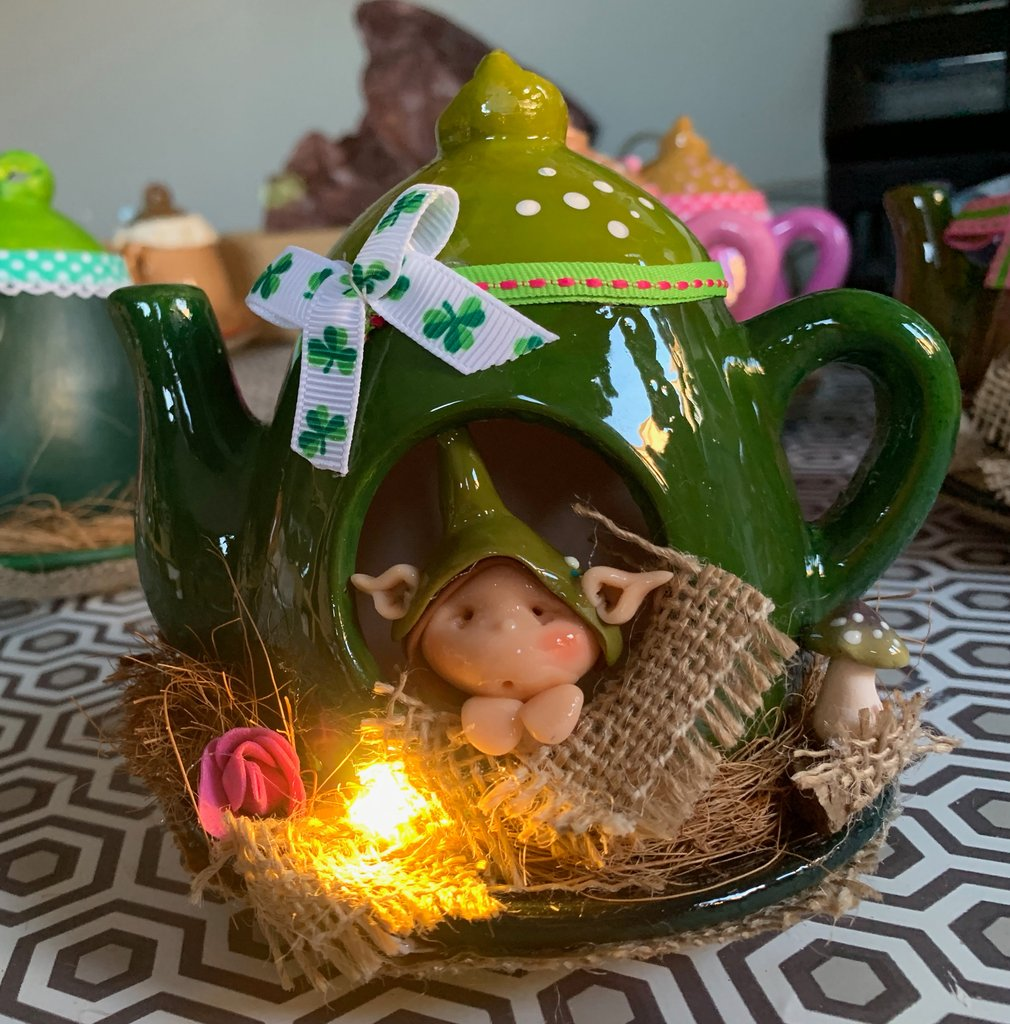 Fantasy Fairy Teapot Green Shamrock