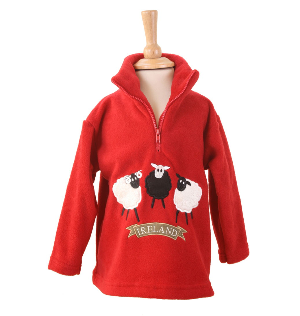 Irish Sheep Trio Zip Neck Fleece - Red