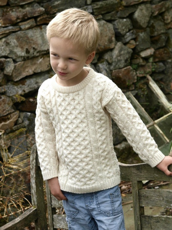 Kids Crew Neck Aran Sweater - Natural