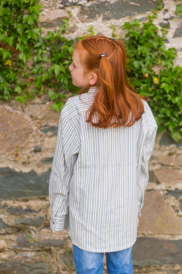 Kids Grandfather Shirt - Blue Ivory Stripe