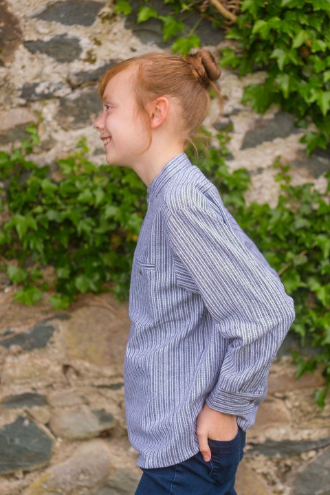 Kids Grandad Shirt - Grey Stripe