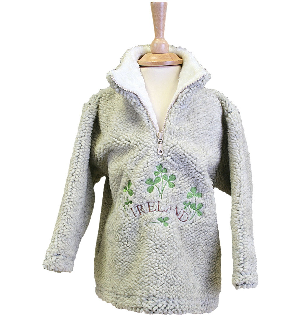 Shamrock Ireland Zip Neck Fleece - Pebble